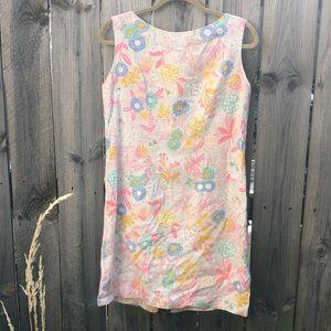 Adorable flower burlap dress